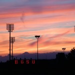 The sunset over Doyt Perry Football Stadium
